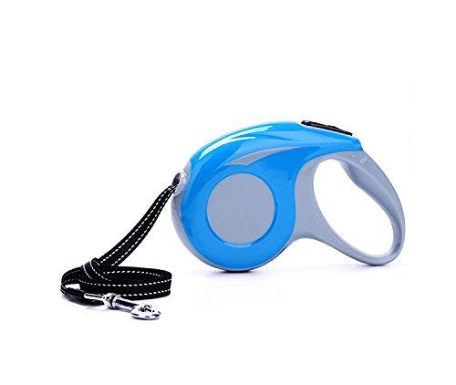 FELICIA SHARKEY Flexible Hundeleine, 10ft/16ftdog Walking Leine für mittlere Große Hunde, One Button Break & Lock, Medium, blau -