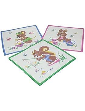 Betz. Set di 12 fazzoletti per bambini al motivo d'animali, misure 26 x 26 cm, 100 % cotone, design 6