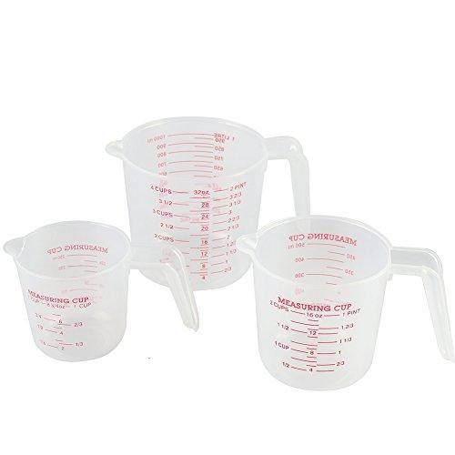 Plástico Jarra Medidora conjunto de 3–sin BPA tazas de medición 1L 500ml 250ml (Lifetime garantía de sustitución ilimitada) por kaishan