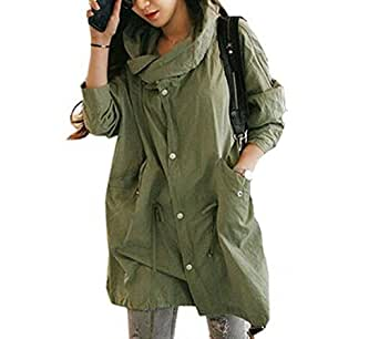 best preis damen hoodie jacke mantel tailliert skull trechcoat military lang kapuzenjacke. Black Bedroom Furniture Sets. Home Design Ideas