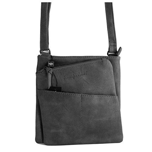Jennifer Jones - kleine - schicke Damen Handtasche Clutch Umhängetasche Abendtasche Ausgehtasche Schultertasche ( Grau ) - präsentiert von ZMOKA® (Schicke Clutch)