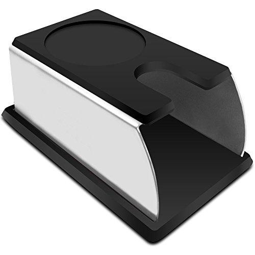 VIENESSO Tamperstation aus Edelstahl und Silikon - die perfekte Tamping-Station für alle Größen, Barista Zubehör für jeden Profi, Andrückstation für Siebträger + Barista E-Book! (schwarz, 14x7x6 cm)