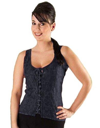 Dark Dreams Gothic Mittelalter LARP Bluse Mieder Top bestickt Xena, Größe:freesize;Farbe:schwarz (Mieder Verziert)