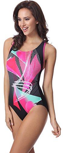 aQuarilla Damen Schwimmanzug AQ81 Schwarz/Rosa