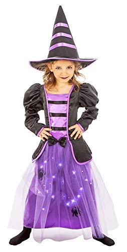 Kostüm Leela - Hexe Leela Kostüm mit LEDs für Mädchen - Lila Schwarz - Gr. 116
