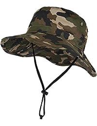 Vbiger Safari Sombrero Hombres Aventura Sombrero Caza Viaje Gorro Pescador Boina Sombrero Al aire libre
