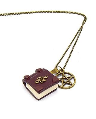 Collier grimoire Wicca et sorcier, mini livre pentacle, pendentif magie, ésotérique, livre miniature phosphorescent, collier bronze et étoile prodection