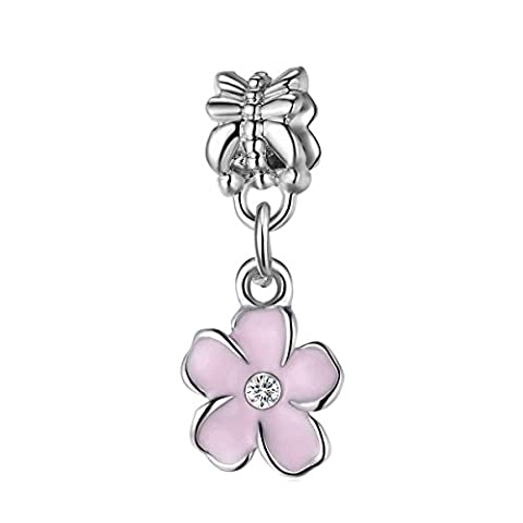 Bling Stars Lovely Pink Flower Dangle Charms Crystal Birthstone Charms Beads Fit Pandora Bracelets