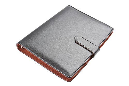 Carpeta Porta-documentos Monumentum / Pad de folios / cuaderno / Carpeta para Conferencia, 23cm x 18cm x 2cm, en polipiel negra, cierre de solapa, bloc de notas con 30 hojas, Mod. DH-A5-03