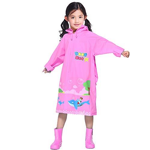 Kinder Regenmantel Ocean World Eva Stilvolle Schüler Kind mit Einer Schulranzen und Einem niedlichen Cartoon Regen Cape Female (Color : Pink, Size : XL)