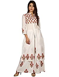 Missprint White And Peach Hand Block Printed Cape Kurta With Palazzo