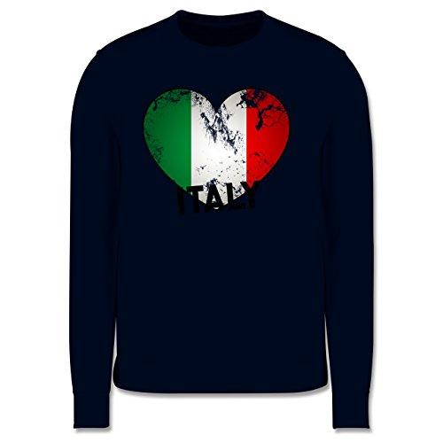 EM 2016 - Frankreich - Italien Herz Vintage - Herren Premium Pullover Dunkelblau