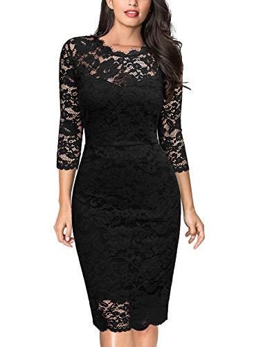 Miusol Vintage Encaje Slim Fit Fiesta Vestido para Mujer Negro Medium