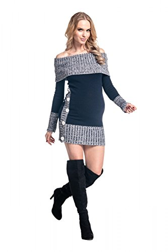 Happy Mama Damen - Umstands Stretch Strickkleid Longpulli Carmenausschnitt 913p Marine