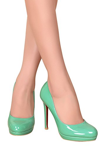 ... Guoar High Heels Geschlossene Toe Damen Pumps Lack Rutsch Stiletto  Plateau Büro-Dame Club Party 4e9939da93