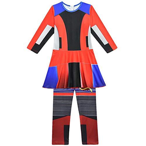 BeeUgy Jungen Mädchen Descendants 3 Kostüm Audrey Mal Uma Evie Halloween Cosplay Overall Kleid Halloween Cosplay Outfits für Kinder