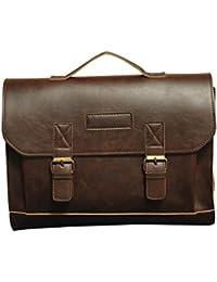 a9bd64192b2cd Quanjie Uomo Vintage Borsa Messenger Bag Impermeabile Briefcase Business  Casual Tracolla di Sacchetto PU Pelle Borse