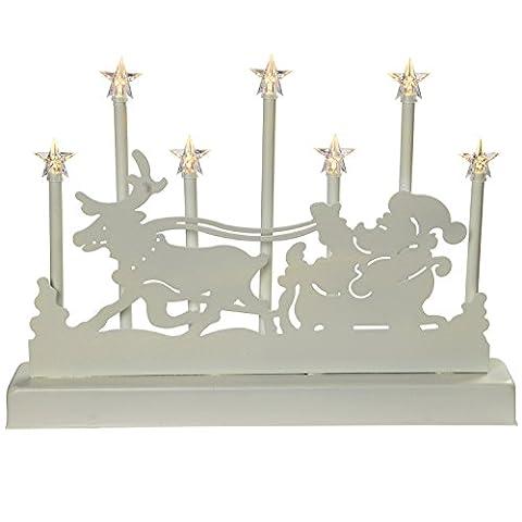 WeRChristmas 31cm Santa Schlitten und Rentier Kerze Brücke Tisch Lampe