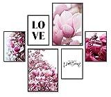POSTORO Passion | Stilvolles Premium Poster Set | 6 harmonisch aufeinander abgestimmte Bilder | Poster Set Rosa | Poster Set Wohnzimmer | Poster Set Schlafzimmer | 2 x DIN A3 + 4 x DIN A4