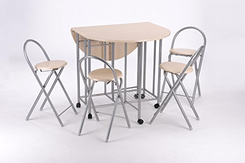 Pandamoto 5 PCS Wooden Top Metal Round Cafe Bar Bistro Dining Table and Chairs Breafast Dining Room Sets