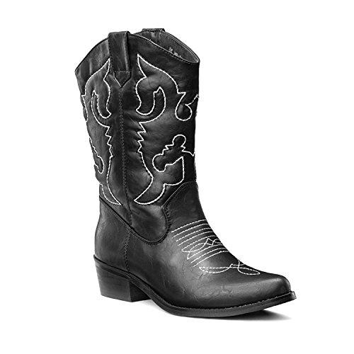 SheSole Damen Westernstiefel Blockabsatz Cowboy Stiefel Schwarz 37 -