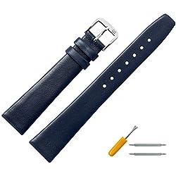 Uhrenarmband 16mm Leder blau glatt - Lederband mit trapezförmigem Bandverlauf - Ersatzarmband passend zu klassischen & modernen Uhren - Marburger Uhrenarmbänder seit 1945 - blau / silber