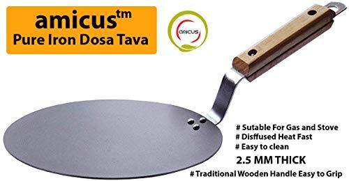 Amicus Premium Pure Iron Tawa Roti Dosa Chapati Tawa Flat 10 Inch