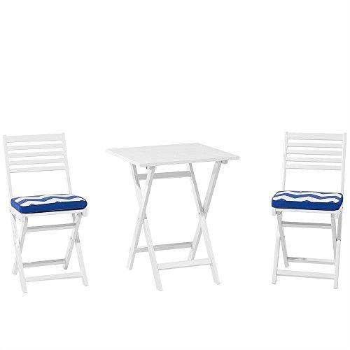 Balkonset Holz weiss 2-Sitzer Auflagen blaues Zickzack Muster FIJI
