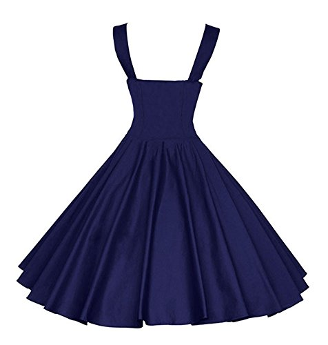 Wealsex Damen 50s Retro Vintage kleid Schwingen Bubble Skirt Partykleider Blau