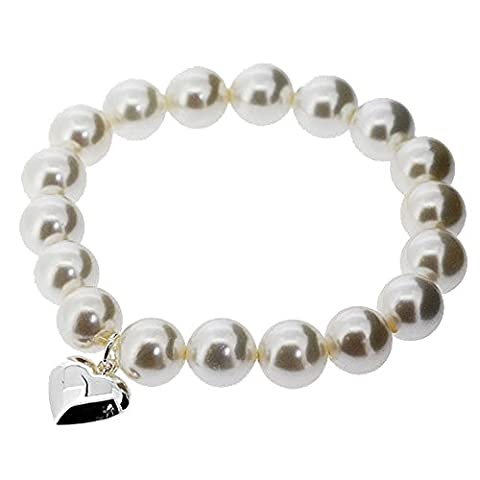 June Birthstone & Wedding Sterling Silver White Pearl Heart Charm Bracelet. Beautifully presented in a red gift box and organza bag.