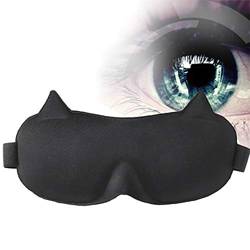 Aolvo 3D-Augenmaske zum Schlafen – bequeme Schlafmaske aus Seide, 100% blockiert Licht, kein Druck auf Ihre Augenbrauen, beste Augenbinde für Reisen/Nickerchen/Nachtschlafen, Katzenohren)