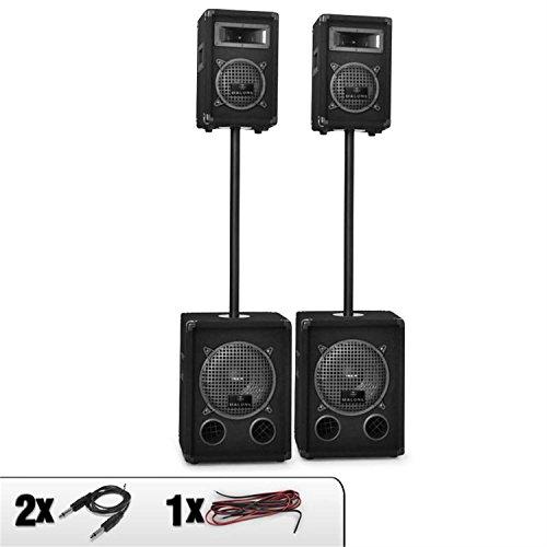 Malone 2-Etagen Doppel aktiv/passiv PA-Set 1700W (2x Auna PW1010, 2x Auna PW0622 inkl. Stative) schwarz