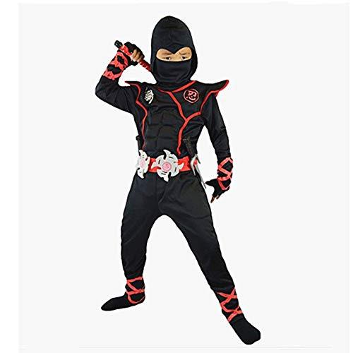 Halloween Samurai Kostüm - Proumhang Cosplay Kostüm Halloween Ninja Samurai Ninja Kind Ninja Krieger Schwarz-S(95-110cm)