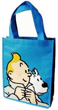 """Tim und Struppi - Einkaufstasche Shopping Bag im Hochformat, Motiv """"Blue Design"""""""