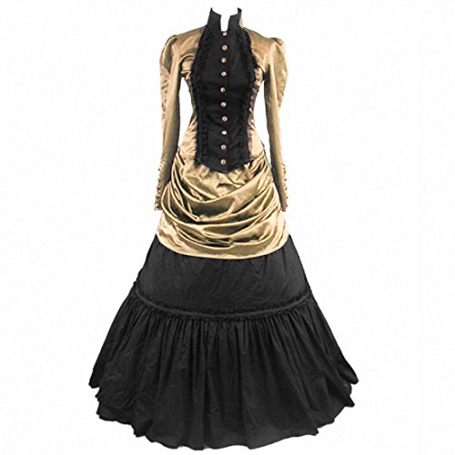 Partiss Damen gotische Lolita mit Lace und Flouncing (Puff Sleeve Cotton Blend)