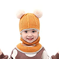 E-More Baby Kids Boys Girls Winter Hat Scarf Set, Children Warm Beanie Hat Knit Cotton Caps Scarves Neck Warmer Earflap Hat for Kids 2-5 Years