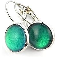 "SCHMUCKZUCKER Damen Ohrhänger ""Ozean"" Modeschmuck Ohrringe silber-farben grün-blau 14mm"