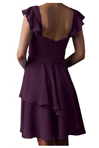 Gorgeous Bride Beliebt Traeger Kurz Chiffon Empire Brautjungfernkleid Cocktailkleid Partykleid Grape