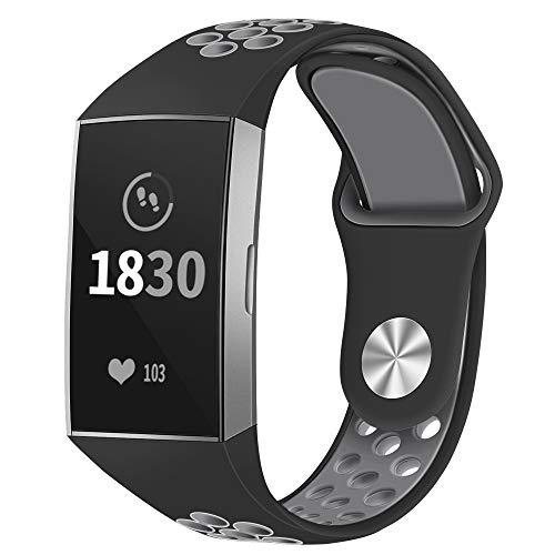 Adepoy Ersatzarmband Kompatible für Fitbit Charge 3, Silikon Wasserdichte Sportlich Einstellbare Zubehör Sport Armband Schwarz Grau Große