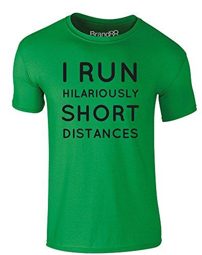 Brand88 - I Run Hilariously Short Distances, Erwachsene Gedrucktes T-Shirt Grün/Schwarz