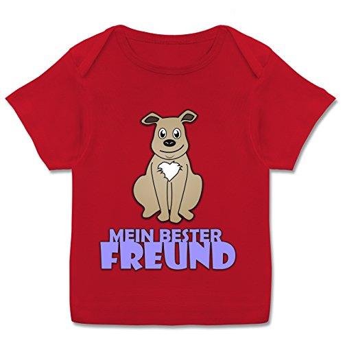 Tiermotive Baby - Mein Bester Freund Hund - 68-74 (9 Monate) - Rot - E110B - Kurzarm Baby-Shirt für Jungen und Mädchen