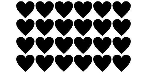Tafelfolie Etiketten Herzen 24 Stück (Kleinen Kreis Anzahl Aufkleber)