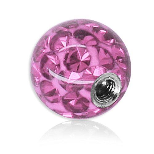 Soul-Cats® Piercing Kugel Kristall Gel Epoxy Ferido viele Größen, Farbe: pink, Gewinde: 1,2 mm; Kugelgröße: 4 mm