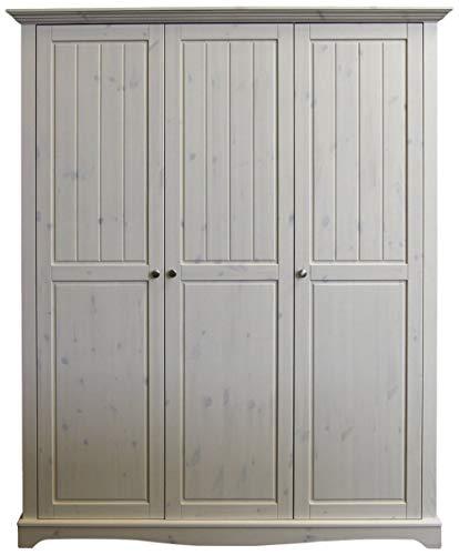 Steens Lotta Kleiderschrank/ Kinderzimmerschrank, 3 Türen, Wäschefach, 169 x 201 x 57 cm (B/H/T), Kiefer massiv, Weiß