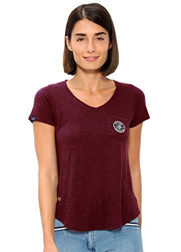 SPOOKS T Shirt für Damen Mädchen Kinder, tailliert Sommer Tshirt mit feinem Schriftzug bequem & stylisch - Sally Shirt Bordeaux s