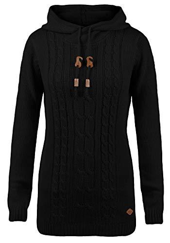 DESIRES Cable Damen Winter Strickpullover Troyer Grobstrick Pullover mit Kapuze, Größe:S, Farbe:Black (9000)