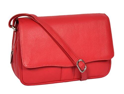 Rouge Sac à Bandoulière En Cuir Aux Femmes Classique Flap Par-dessus Messager Décontractée Sac à main - Ada