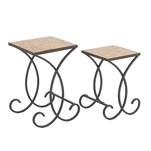 Urban Designs 7702124 Sandstorm Square Mosaic Nested Accent Tables - Set of 2 Sandstorm