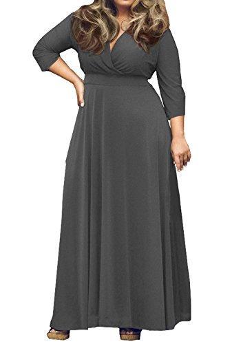 Donna Taglie Forti Abito da Sera Partito Cocktail Vestito Maxi Maniche 3/4 Scollo V Abiti Cerimonia Vestiti di Colore Solido Grigio