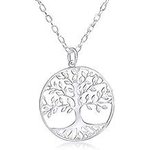 23d7872fac483 Wanda Plata Collar Árbol de la Vida para Mujer Plata de Ley 925. Colgante  con